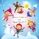 Skinande vektorjulbakgrund med den roliga snögubben och barn Vykortdesign för lyckligt nytt år med pojken och flickan som tycker  Royaltyfria Bilder