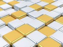 Skinande yttersidor för mosaik 3d, silver- och guld. Royaltyfria Foton