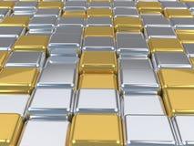 Skinande yttersidor för mosaik 3d, silver- och guld. Arkivbild