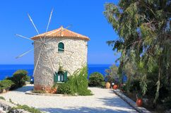 Traditional Windmill in Cape Skinari. North coast of Zakynthos or Zante island, Ionian Sea, Greece. royalty free stock images