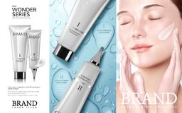 Skincare化妆用品广告 向量例证