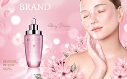 Skincare化妆用品广告 皇族释放例证