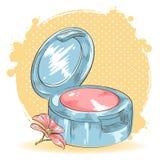 Skincare构成胭脂查出的看板卡 向量例证