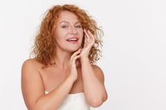 Skincare της ώριμης γυναίκας Στοκ Εικόνες