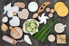 Skincare излечивать продукты и ингредиенты стоковое фото rf