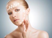 Skincare принципиальной схемы. Кожа женщины с подтяжкой лица, пластмассы su красотки Стоковое Фото
