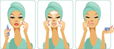Daily skincare. Woman removing make-up, cleansing face and applying face foundation Royalty Free Stock Image