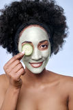 Skincare beauty concept with black african model Royalty Free Stock Photos