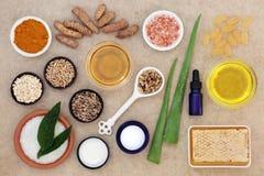 Skincare-Bestandteile, zum von Psoriasis zu beruhigen stockbild