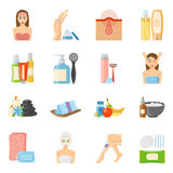 Skincare And Bodycare Flat Icons Stock Photos