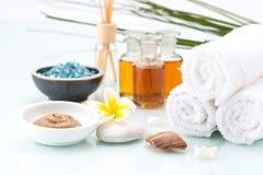 Skincare con olio essenziale, fango fatto a mano, il fiore ed il sale Fotografia Stock Libera da Diritti