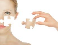 Skincare di concetto con i puzzle. Fotografia Stock Libera da Diritti