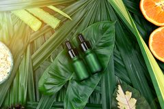 Skincare dos cosméticos com extrato da vitamina-c, recipientes cosméticos da garrafa com fatias alaranjadas frescas, etiqueta vaz fotografia de stock