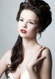 Skincare e conceito do cuidado do corpo. Face fêmea encantadora Fotos de Stock Royalty Free