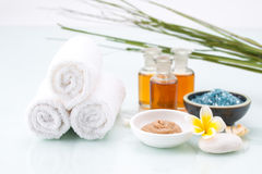 Skincare with essential oil, handmade Mud, flower and salt Royalty Free Stock Photos