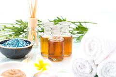 Skincare with essential oil, handmade Mud, flower and salt Stock Image