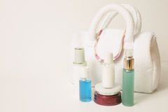 Skincare essentials. Skincare products on white background Stock Photography