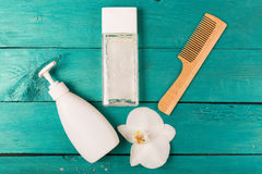Skincare essentials on a wooden background Stock Photography
