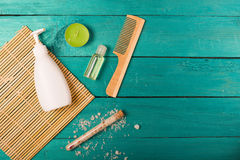Skincare essentials on a wooden background Stock Photos