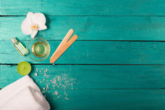 Skincare essentials on a wooden background Stock Image