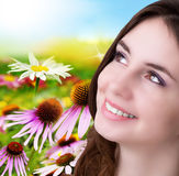 Skincare Face. Beauty Young Girl over nature green background.Skincare Face Stock Photography