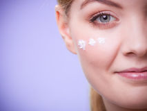 Skincare. Face of young woman girl taking care of dry skin. Stock Image