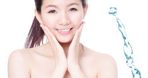 Skincare girl smile face with splash water Royalty Free Stock Photo