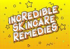 Skincare increíble remedia - palabras del estilo del cómic stock de ilustración