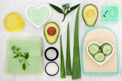 Skincare Ingredient Selection. Skincare ingredients to cleanse and soothe skin disorders Stock Photos