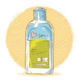 Skincare make-up bottle isolated card. On polka dot grunge splash background Stock Image