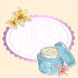 Skincare make-up cream jar  card Stock Images