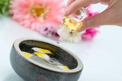 Skincare med nödvändig olja, handgjord gyttja, blomma och saltar Royaltyfri Foto