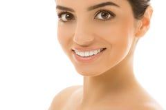 Skincare. Muchacha hermosa, natural con sonrisa linda Imágenes de archivo libres de regalías