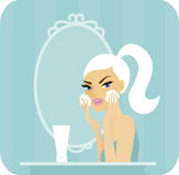Skincare reeks-reinigt royalty-vrije illustratie