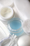 Skincare set. Pads, creams, lotion and make-up remover Stock Images