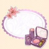 Skincare sminkrouge, öga-skugga och läppstift  Royaltyfria Bilder