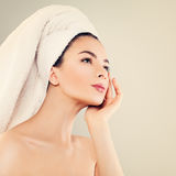 Skincare and Spa Concept. Healthy Spa Woman with Clear Skin Royalty Free Stock Image