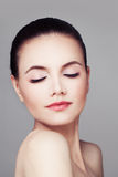 Skincare and Spa. Healthy Woman with Pure Skin Stock Images
