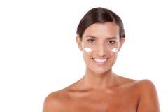 Skincare ung Caucasian kvinna Fotografering för Bildbyråer