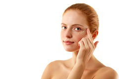 Skincare woman beautiful spreads her face Stock Images