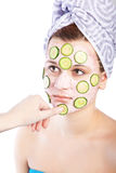 Skincare woman with beauty mask Stock Images