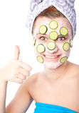 Skincare woman with beauty mask Royalty Free Stock Image