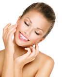 Skincare. Woman smiling with closed eyes. Closeup portrait Royalty Free Stock Image