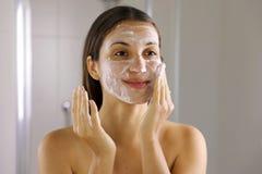 Free Skincare Woman Washing Face  Foaming Soap Scrubbing Skin. Face Wash Exfoliation Scrub Soap Woman Washing Scrubbing With Skincare Stock Photos - 168157903