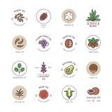 Skincare y los cosméticos orgánicos de la belleza engrasan la línea emblemas y logotipos del vector libre illustration