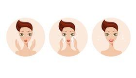 Skincare y muchacha de los pasos del tratamiento del acné que aplica el producto de belleza de la cara stock de ilustración