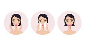 Skincare y muchacha de los pasos del tratamiento del acné que aplica el producto de belleza de la cara Ilustración del Vector