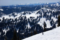 Sking Snow Ridges Crystal Mountain Stock Photography