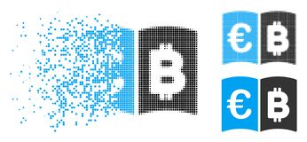 Skingrad Dot Halftone Euro And Bitcoin katalogsymbol royaltyfri illustrationer
