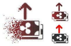 Skingrad Dot Halftone Ripple Banknotes Pay ut symbol vektor illustrationer